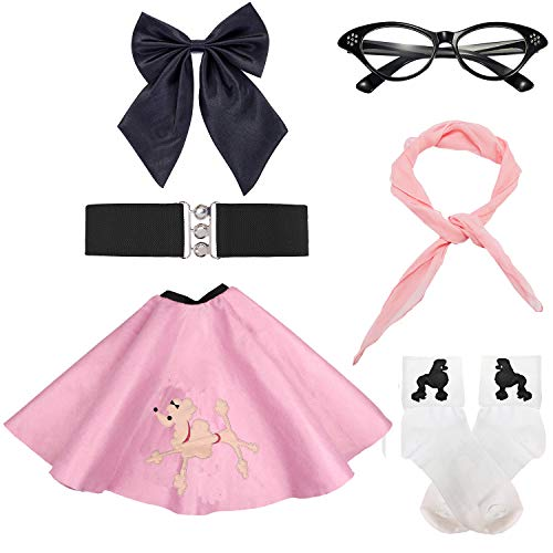 50s Girls Costume Accessory Set - Poodle Skirt,Elastic Cinch Belt,Ponytail Holders,Chiffon Scarf,Cat Eye Glasses,Bobby Socks,Pink
