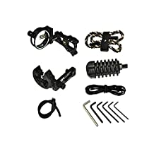 Zpy Black Compound Bow Accessories Including 5 Pin Bow Sight,Braided Sling,Bow Stabilizer,Arrow Rest,Peep Sight