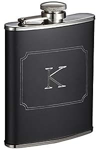Visol Products Marcel Liquor Flask with Engraved Initial, 6 oz, Letter K, Matte Black
