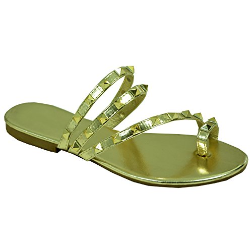 Cucu Fashion Brand New Womens Rock Stud Flip Flops Ladies Girls Flats Slip On Sandals Shoes Size UK 3-8 Gold AbXsaO5f