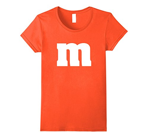 Womens M Candy Letter Halloween Costume t-shirt - ORANGE Medium (Easy Costumes)