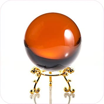 Amlong Crystal Amber Crystal Ball 80mm 3.1 inch Including Golden Flower Stand and Gift Package