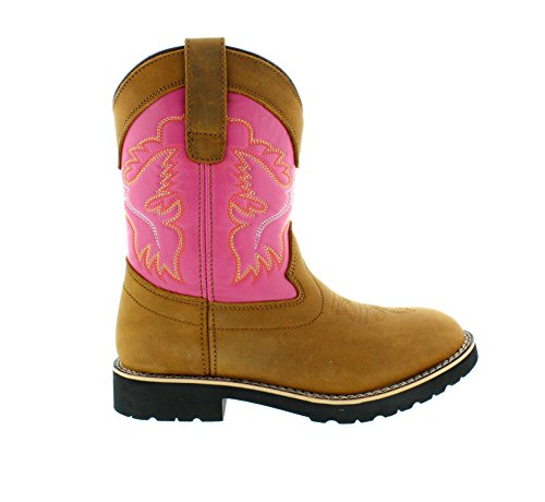 - Itasca Girls Youth Pull-on Leather/Nylon Buckaroo Western Boot, Pink, 2.0 Standard US Width US Little Kid