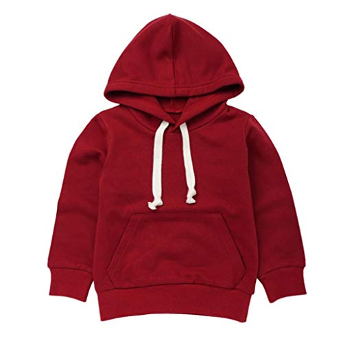 Hooded Sweatshirt Assistant (Ankola Toddler Hoodie,Toddler Infant Baby Boys Girls Long Sleeve Hooded Pullover Sweatshirt Front Pockets (6T, Wine Red))