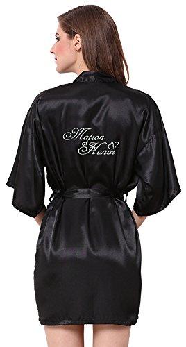 Embroidered Satin Robe (JOYTTON Women's Satin Kimono Robe With Embroidered Matron Of Honor Black M)