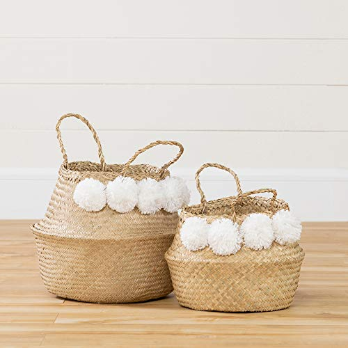 South Shore 100389 Storit Woven Belly Baskets-Set of 2 -Natural Seagrass and White