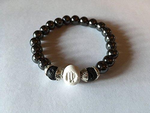 Women Zodiac Virgo Bracelet, Clay | Hematite | Lava Bead, Essential Oil Diffuser, Astrology Jewelry, 8MM Round