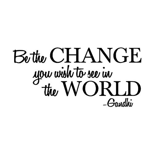 (Empresal Be The Change You Wish to See in The World - Gandhi Wall Quote Sayings Letters Decals Lettering Vinyl Sticker Sign)