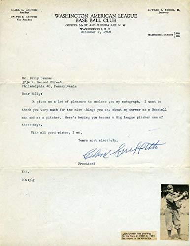 CLARK GRIFFITH JSA and PSA DNA COA Autograph 1948 Letter Hand Signed