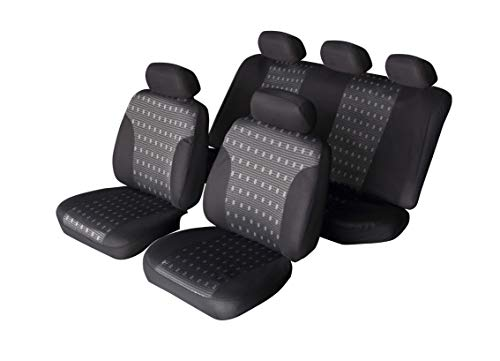 Autonise Universal fit Classic Sport Bucket seat Cover (Fit Most Car,Truck, SUV, or Van with headrest) Airbag Compatible (Gray Jacquard, Full ()