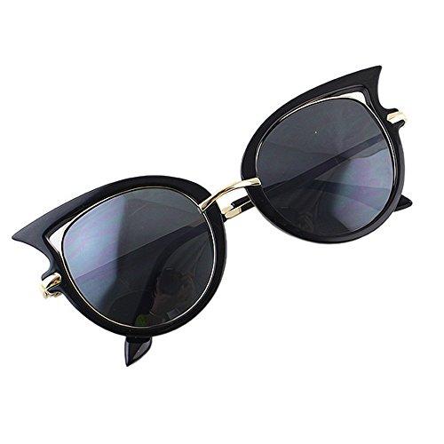 Feelontop® Art und Weise kühle weiße Katze-Form-Sonnenbrille mit freies Glas-Boxen (Black)