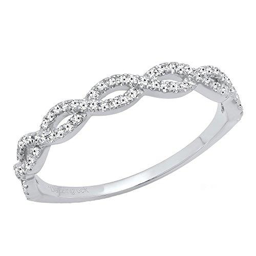 0.20 Carat (ctw) 18K Gold Round Diamond Ladies Swirl Anniversary Wedding Stackable Band 1/5 CT
