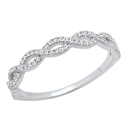 Dazzlingrock Collection 0.20 Carat (ctw) 10K Diamond Swirl Anniversary Wedding Band Stackable Ring 1/5 CT, White Gold, Size 6