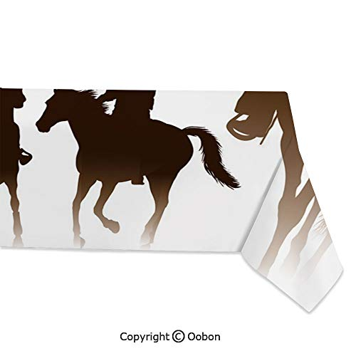 oobon Space Decorations Tablecloth, Collection of Horseback Riding Silhouettes Bridle Ranch Stallion Equestrian Theme Decorative, Rectangular Table Cover for Dining Room Kitchen, W60xL104 inch