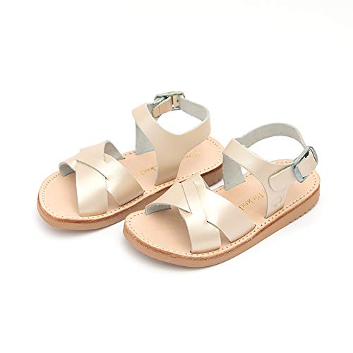 (Freshly Picked - Saybrook Baby Boy Girl Leather Sandals - Size 3 Platinum Gold)
