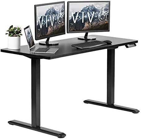 VIVO Electric Height Adjustable 60 x 24 inch Memory Stand Up Desk, Black Solid One-Piece Table Top, Black Frame, Standing Workstation with Preset Controller, DESK-KIT-1B6B