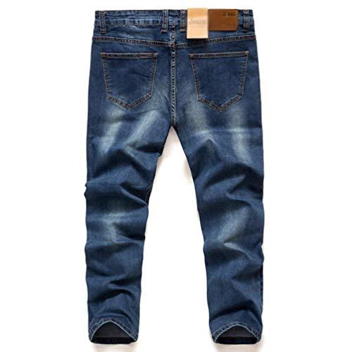 Fit Dunkelblau Jeans Pantaloni Slim Da Dritti Retrattili Denim Moda Casual Larghi Uomo wnq6BAO