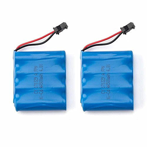 KOOWHEEL RC Car Rechargeable Battery, 2 PCS 500mAh 4.8V AA High Capacity Battery Pack for 1:16 RC Truck Off Road Four Wheels Car