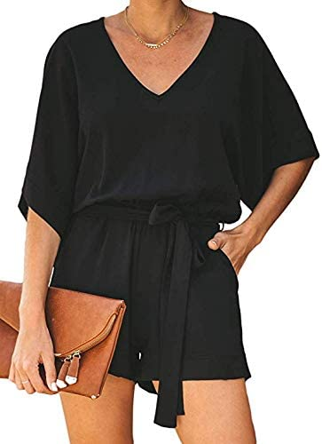 NUOREEL Women's Casual High Waist Self Tie Belt Romper Short Bell Sleeve One Piece Jumpsuit