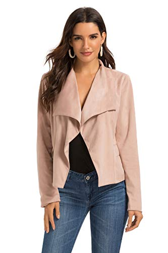 Escalier Womens Suede Leather Jacket Open Front Lapel Cardigan Blazer Jackets (L, Pink)