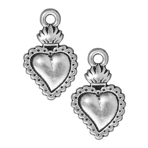 - TierraCast Silver Plated Pewter Dia De Los Muertos Sacred Heart Milagro Pendant Charm 22mm (1)
