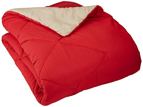 AmazonBasics Reversible Microfiber Comforter - Twin/Twin Extra-Long, (Twin Red Blanket)