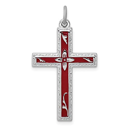 925 Sterling Silver Red Enameled Cross Religious Pendant Charm Necklace Latin Fine Jewelry For Women Gift Set