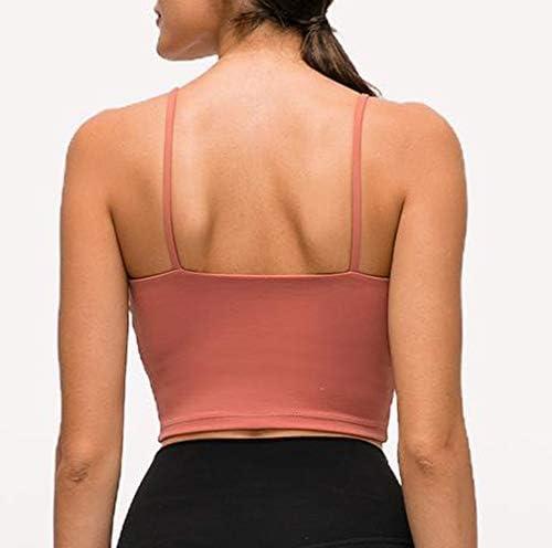 geluboao Womens Longline Sports Crop Tank Top Padded TikTok Sport Bra for Fitness Yoga Workout Running