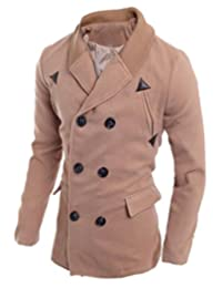 Vska Mens Casual Double Breasted Knitted Collar Slim Fit Pea Coat