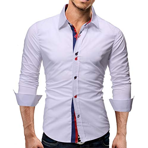 Stoota Men's Classic Regular Fit Button Down Shirts, Long Sleeve Solid Color Lapel Down Flannel Casual Blouse M-XXL White]()
