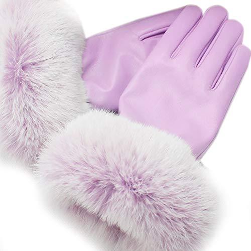 XRDSS Women's Lambskin Leather Touch Screen Gloves with Fox Fur Trim Multicolor,Light Purple,M ()