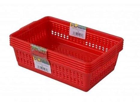 Red Set of 5 Small Plastic Handy Fruit Vegetable Basket Kitchen Office Storage