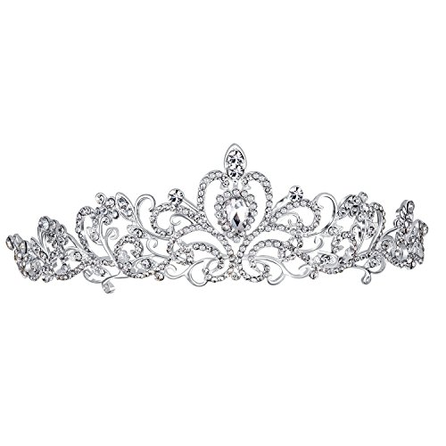 En Vogue Tiara (Bella-Vogue Rhinestone Crystal Statement Bridal Crown Tiara Jewelry Sets-NO.161)