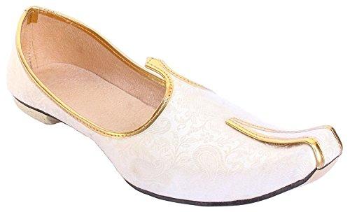 BombayFlow Men's Punjabi Jutti Khussa Mojari Indian Dress Wedding Shoes Abraham (8 D(M) US)