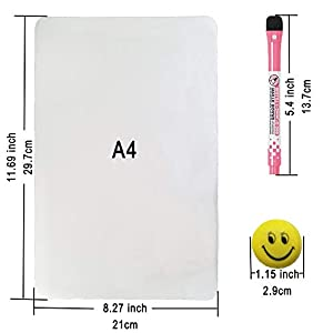 Qualsen A4 Fridge Board Magnetic Dry Erase Whiteboard Sheet for Refrigerator Kitchen Whiteboard Reminder Board, Include 2 Boards, 4 Color Markers and 12 Magnets, New Stain Resistant Technology