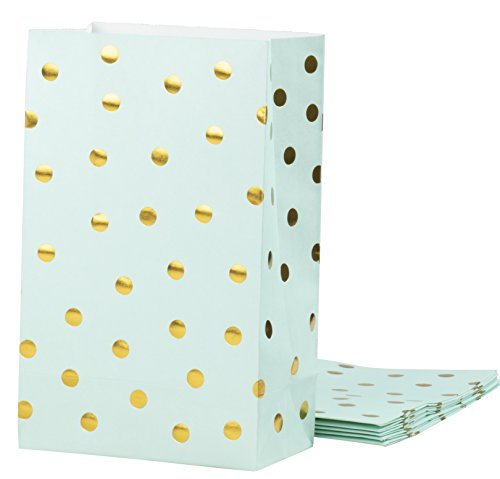 Party Treat Bags - 24-Pack Gift Bags Party Supplies, Paper Favor Bags, Recyclable Goodie Bags for Birthdays, Weddings, Baby Showers, Gold Foil Polka Dots Design, Mint Green, 5.5 x 8.6 x 3 inches