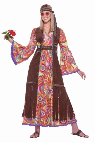 Women's Hippie Love Child Costume, Multi-Colored, One Size