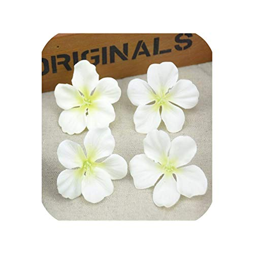 10pcs Silk Butterfly Orchid Artificial Flower Head for Wedding Car Home Decoration,White with Green -
