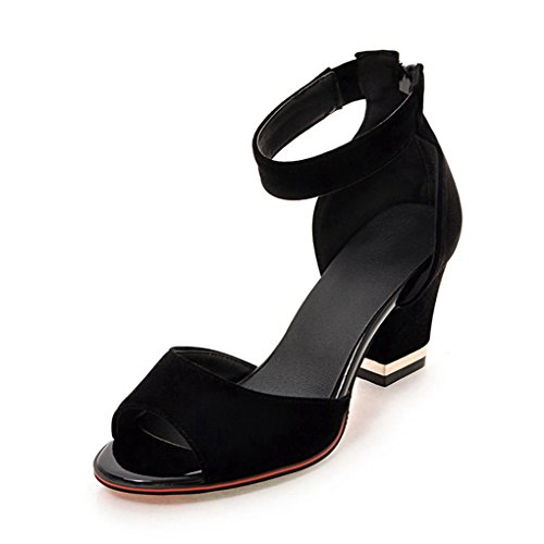 Oficina Alto Sandalias Vestir para Negro Terciopelo de con Mujer Zapatos Genepeg Tacón Cierre para y de Hq0dFwO06n
