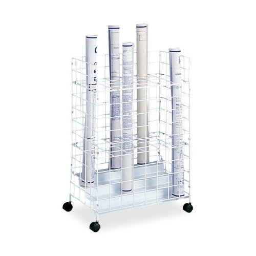 Safco Vertical Roll File (Wire Roll Files, 24 Compartments, 21w x 14-1/4d x 31-3/4h, White)