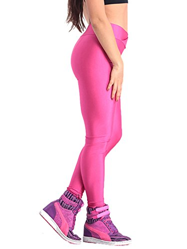 Pink Queen Womens Skinny Wet Look Flourescent Metallic Gloss Leggings Pencil Pants (L, Hot Pink) by Pink Queen (Image #1)