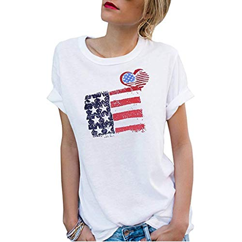 Women's Roll Up Short Sleeve Round Neck Print T-Shirt Casual Blouse Basic Tee Tops Chic Fashion Shirt for Lady White