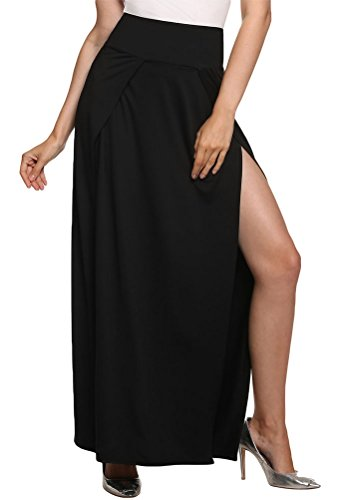 Locry Women Sexy Double Side Split High Waisted Maxi Black Skirt (XL, Black)