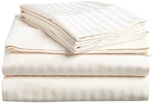 Sleepwell , 4 Pcs Sheet Set 400 Thread Count 100% Cotton With 12 Inch Deep Pocket Stain Resistant, Durable And Easy To Use (Twin Size, Ivory Stripe)