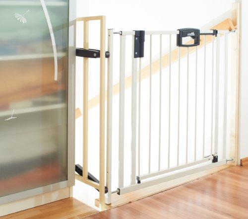 Geuther Metall Tür- und Treppenschutzgitter Easy Lock zum Einklemmen und Schwenken, weiß-silber, 80.5 - 55.8 cm