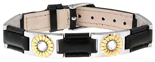 Sabona Black Leather Gem Duet Magnetic Bracelet