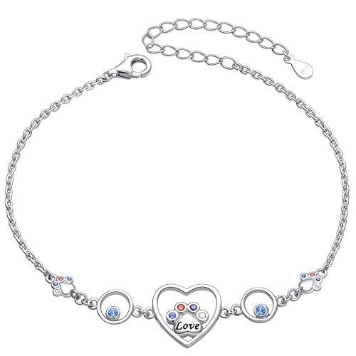 JZMSJF S925 Sterling Silver Puppy Dog Cat Paw Bracelet Pet Lovers Bracelet Dog Owner Bangle for Dog Lovers