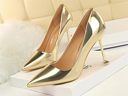 Talons Filles Mariée EU38 Chaussures Gold Multicolore Sandales CLOVER Clignotantes À 4 Talons Hauts Femmes A Dames Aiguilles Brillant LUCKY Princesse Saison 18BqROW