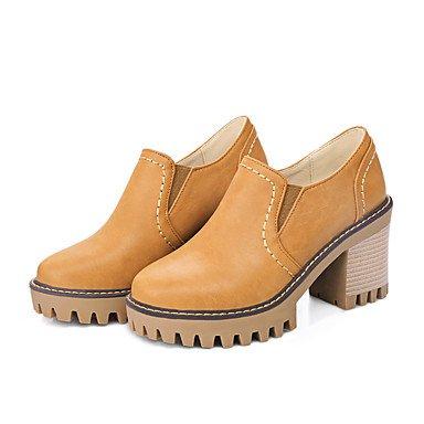 Talones de las mujeres Zapatos Primavera Verano Otoño Invierno Club de la PU para oficina y del partido Carrera y vestido de noche Chunky talón Negro Amarillo Gris Yellow