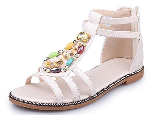 Strand mit flachen Sandalen Mode wilde weibliche Studenten flachen Schuhe Paket Wurzel offener Sandalen Diamanten white